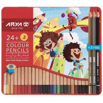 مداد رنگی ۲۴+3 فلزی  آریا 3022-3095