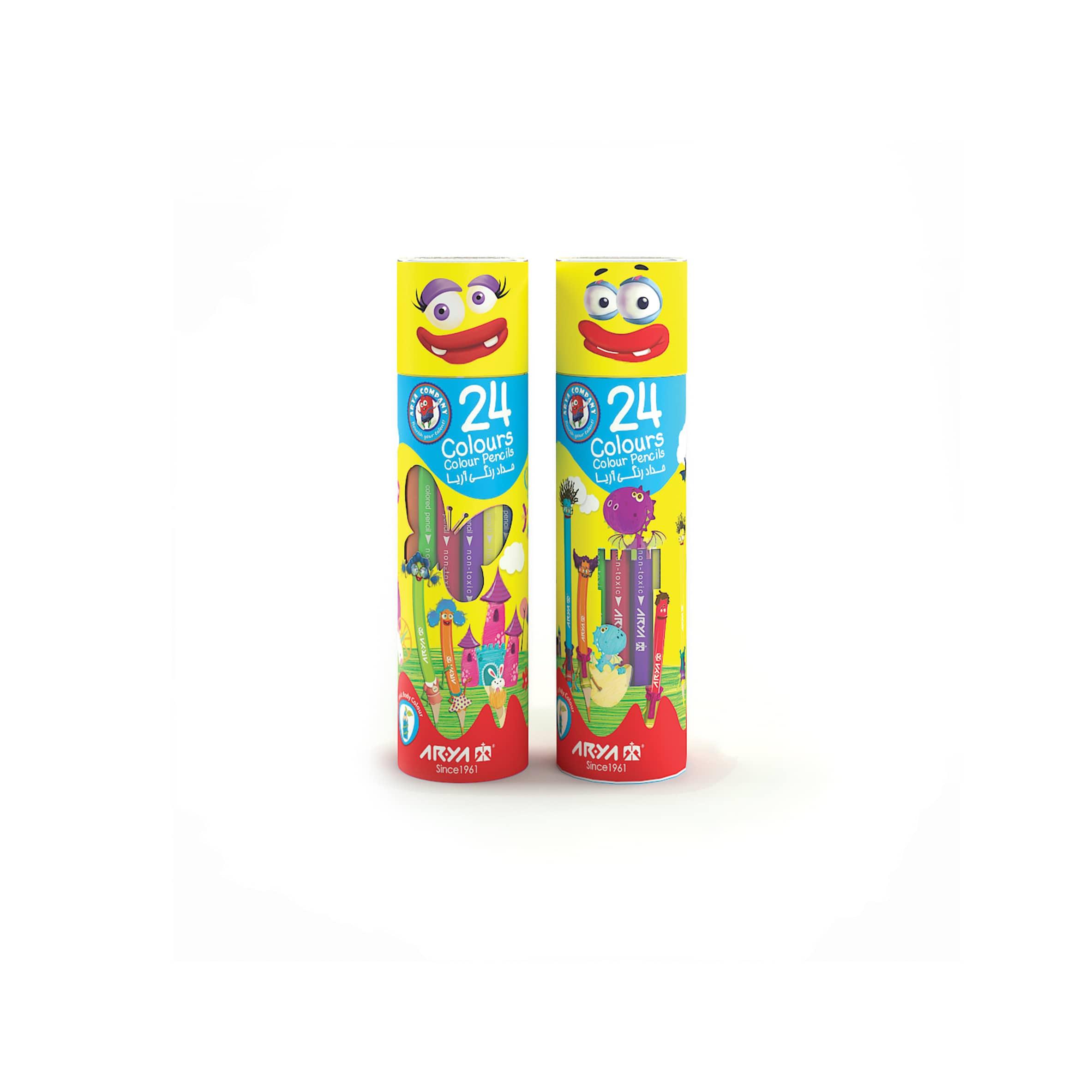مداد رنگی ۲۴ رنگ استوانه ای آریا 3052